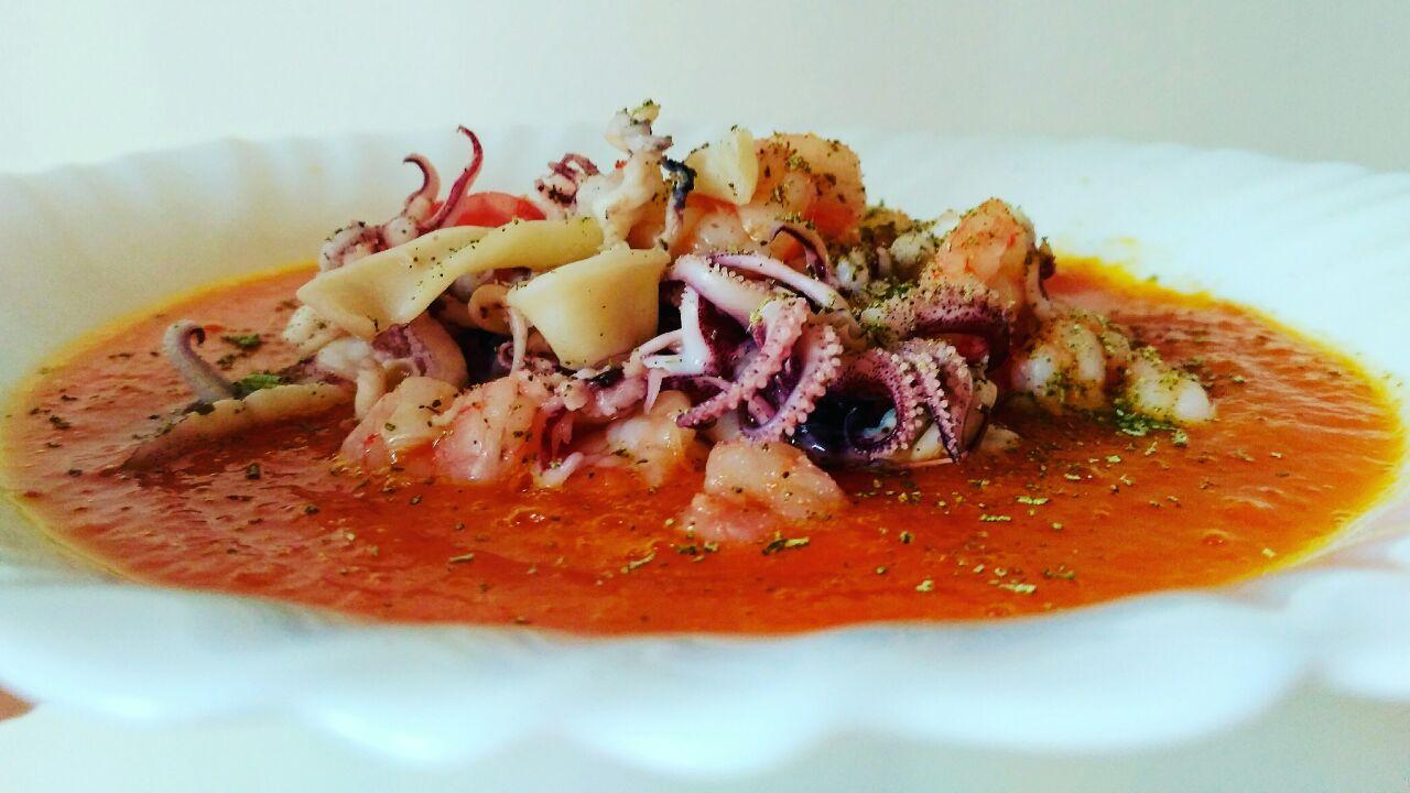 Secondi piatti: calamari al vapore su vellutata di zucca