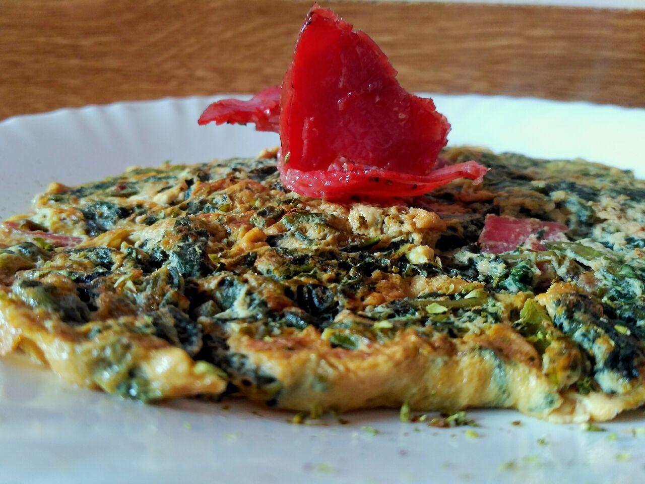Secondi piatti: frittata di cicoria e bresaola, senza formaggio e senza burro!