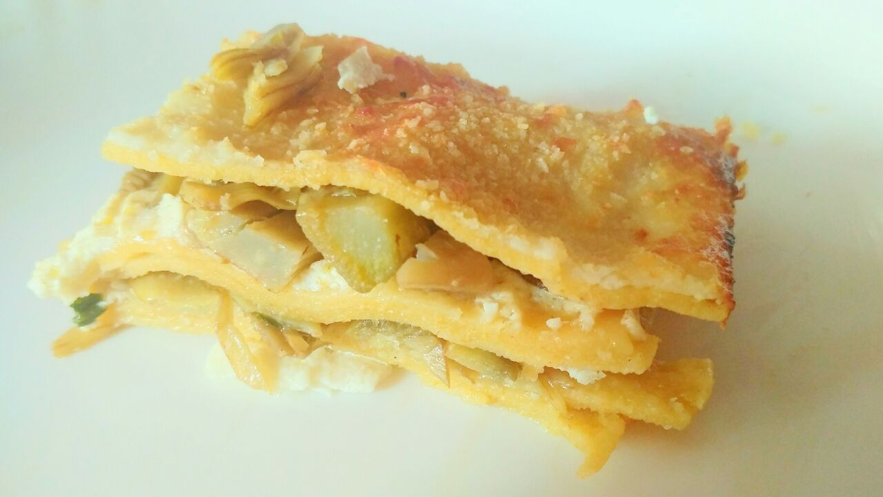 Primi piatti: lasagna ai carciofi e ricotta di capra, senza burro e senza besciamella!