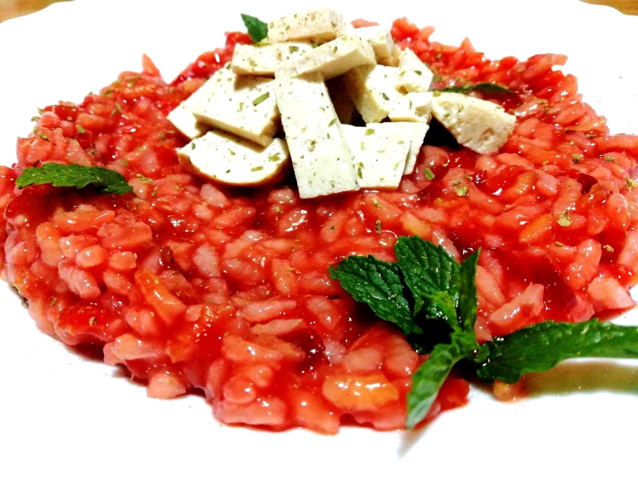 Ricette senza glutine: riso Carnaroli alla barbabietola e tofu!