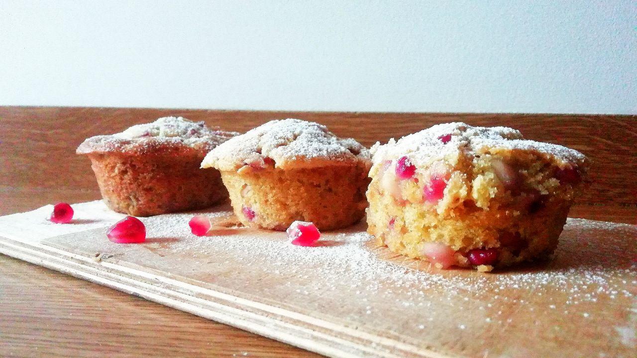 Dolci senza burro con zucchero di canna: mini muffin al melograno!