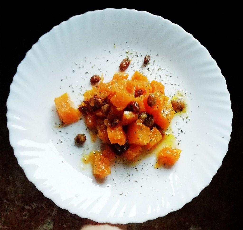Contorni autunnali senza burro e senza lattosio: zucca in agrodolce con uvetta e succo di mandarino!