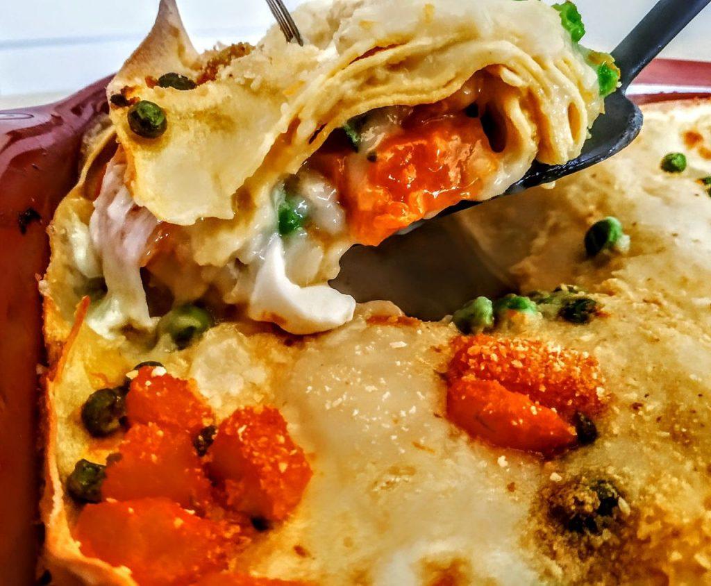 Primi piatti senza burro e senza carne: lasagne bianche con mozzarella di bufala zucca piselli zucchine e besciamella all'acqua!